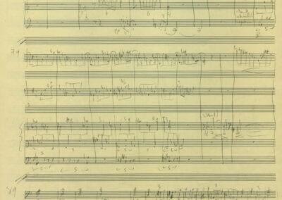 """""""DREI"""" für Schlagzeug, E-Gitarre und Orgel von Pierre-Dominique Ponnelle, 2019 (Autograph Seite 4)"""