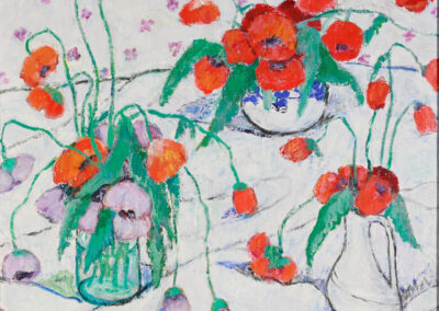 "1. Streichquartett I Adia Khabibulovna Sitdikova I 1913 in Tatarstan – 2000 in Ufa I ""MOHNBLUMEN"", 1985, Öl auf Leinwand auf Karton, 46 x 50 cm"